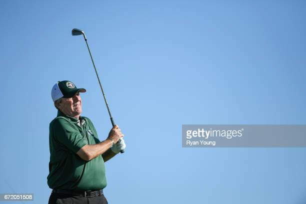 Mark Calcavecchia tees off on the ninth hole during the final round of the PGA TOUR Champions Bass Pro Shops Legends of Golf at Big Cedar Lodge at...