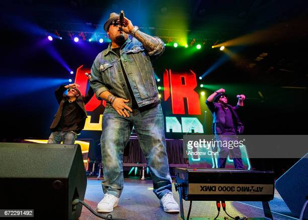 Mark Calderon Bryan Abrams and Adam Emil of RB group Color Me Badd perform on stage during the 'I Love The 90's Tour' at Abbotsford Centre on April...