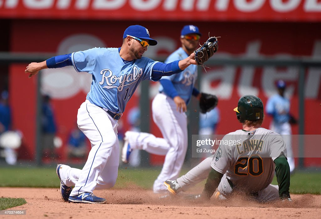 Mark Canha of the Oakland Athletics slides into second for a steal past Omar Infante of the Kansas City Royals in the fifth inning on April 19 2015...