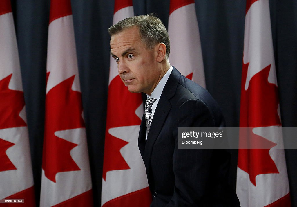 <a gi-track='captionPersonalityLinkClicked' href=/galleries/search?phrase=Mark+Carney&family=editorial&specificpeople=3028157 ng-click='$event.stopPropagation()'>Mark Carney</a>, governor of the Bank of Canada, arrives to speak at a press conference in Ottawa, Ontario, Canada, on Wednesday, April 17, 2013. The Canadian dollar weakened to the lowest level in a month versus its U.S. counterpart after the Bank of Canada reduced its growth forecast for 2013 and said economic slack will persist for more than two years. Photographer: Patrick Doyle/Bloomberg via Getty Images