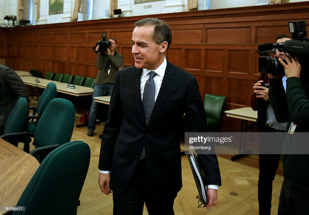 <a gi-track='captionPersonalityLinkClicked' href=/galleries/search?phrase=Mark+Carney&family=editorial&specificpeople=3028157 ng-click='$event.stopPropagation()'>Mark Carney</a>, governor of the Bank of Canada, arrives to testify before the House of Commons finance committee in Ottawa, Ontario, Canada, on Tuesday, Feb. 12, 2013. Carney reiterated the need for raising his 1 percent policy interest rate is less imminent. Photographer: Patrick Doyle/Bloomberg via Getty Images