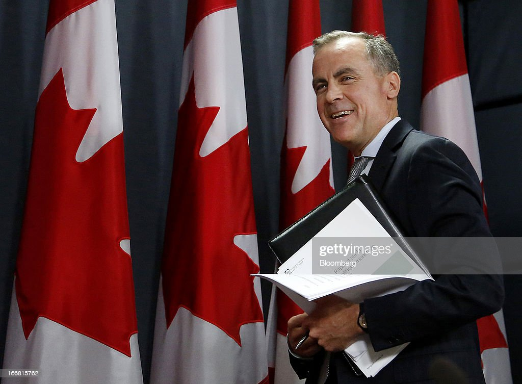 <a gi-track='captionPersonalityLinkClicked' href=/galleries/search?phrase=Mark+Carney&family=editorial&specificpeople=3028157 ng-click='$event.stopPropagation()'>Mark Carney</a>, governor of the Bank of Canada, exits after speaking at a press conference in Ottawa, Ontario, Canada, on Wednesday, April 17, 2013. The Canadian dollar weakened to the lowest level in a month versus its U.S. counterpart after the Bank of Canada reduced its growth forecast for 2013 and said economic slack will persist for more than two years. Photographer: Patrick Doyle/Bloomberg via Getty Images