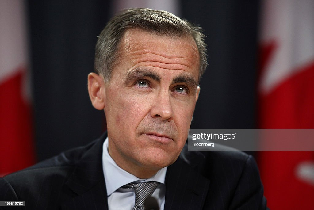 <a gi-track='captionPersonalityLinkClicked' href=/galleries/search?phrase=Mark+Carney&family=editorial&specificpeople=3028157 ng-click='$event.stopPropagation()'>Mark Carney</a>, governor of the Bank of Canada, listens to a question during a press conference in Ottawa, Ontario, Canada, on Wednesday, April 17, 2013. The Canadian dollar weakened to the lowest level in a month versus its U.S. counterpart after the Bank of Canada reduced its growth forecast for 2013 and said economic slack will persist for more than two years. Photographer: Patrick Doyle/Bloomberg via Getty Images