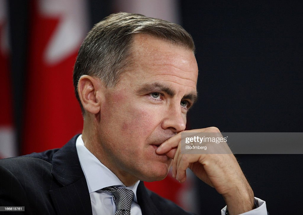 Mark Carney, governor of the Bank of Canada, listens to a question during a press conference in Ottawa, Ontario, Canada, on Wednesday, April 17, 2013. The Canadian dollar weakened to the lowest level in a month versus its U.S. counterpart after the Bank of Canada reduced its growth forecast for 2013 and said economic slack will persist for more than two years. Photographer: Patrick Doyle/Bloomberg via Getty Images