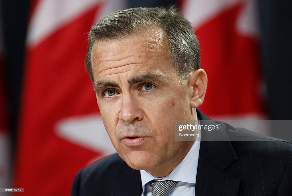 <a gi-track='captionPersonalityLinkClicked' href=/galleries/search?phrase=Mark+Carney&family=editorial&specificpeople=3028157 ng-click='$event.stopPropagation()'>Mark Carney</a>, governor of the Bank of Canada, speaks during a press conference in Ottawa, Ontario, Canada, on Wednesday, April 17, 2013. The Canadian dollar weakened to the lowest level in a month versus its U.S. counterpart after the Bank of Canada reduced its growth forecast for 2013 and said economic slack will persist for more than two years. Photographer: Patrick Doyle/Bloomberg via Getty Images