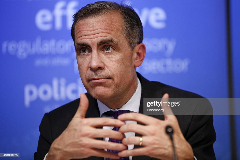 <a gi-track='captionPersonalityLinkClicked' href=/galleries/search?phrase=Mark+Carney&family=editorial&specificpeople=3028157 ng-click='$event.stopPropagation()'>Mark Carney</a>, governor of the Bank of England and chairman of the Financial Stability Board (FSB), gestures during a news conference following the board's plenary meeting at the Bank of England in London, U.K., on Monday, March 31, 2014. Carney said the FSB wants lenders and the International Swaps and Derivatives Association Inc., an industry group, to come up with proposals to write temporary pauses into derivatives contracts struck with banks that hit financial trouble. Photographer: Simon Dawson/Bloomberg via Getty Images