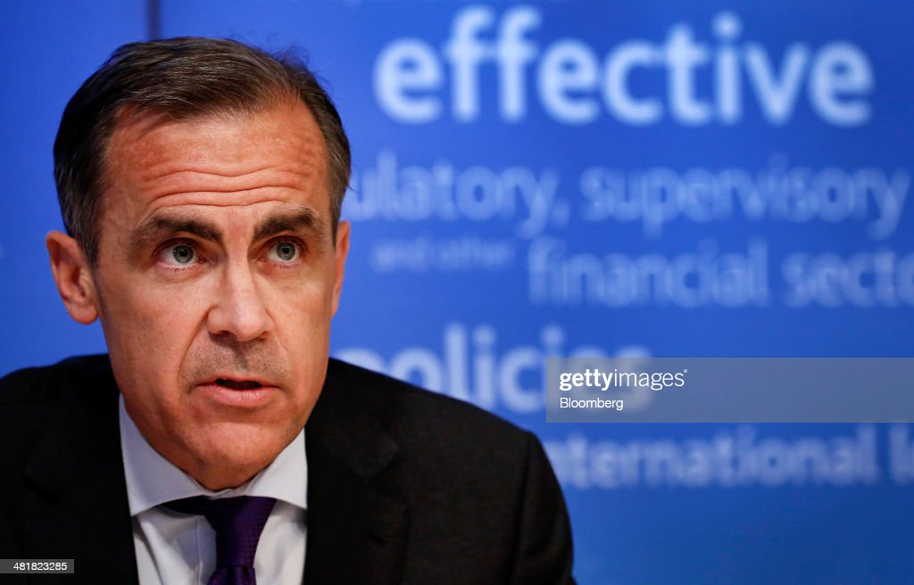 <a gi-track='captionPersonalityLinkClicked' href=/galleries/search?phrase=Mark+Carney&family=editorial&specificpeople=3028157 ng-click='$event.stopPropagation()'>Mark Carney</a>, governor of the Bank of England and chairman of the Financial Stability Board (FSB), speaks during a news conference following the board's plenary meeting at the Bank of England in London, U.K., on Monday, March 31, 2014. Carney said the FSB wants lenders and the International Swaps and Derivatives Association Inc., an industry group, to come up with proposals to write temporary pauses into derivatives contracts struck with banks that hit financial trouble. Photographer: Simon Dawson/Bloomberg via Getty Images