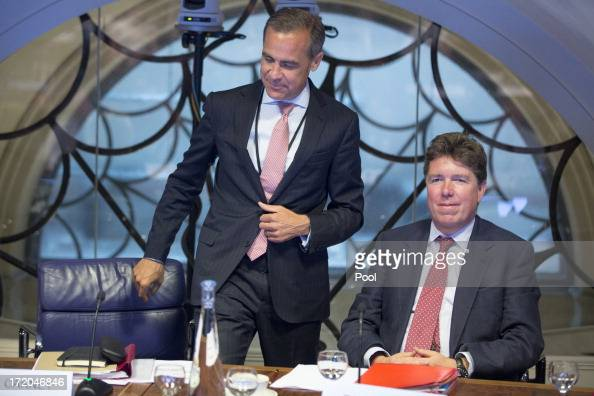 Mark Carney governor of the Bank Of England and Paul Tucker outgoing deputy governor at the Bank of England attend a monetary policy committee...
