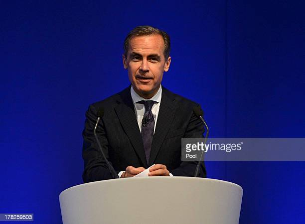 Mark Carney governor of the Bank of England delivers his address to business leaders on August 28 2013 in Nottingham England Carney's first policy...