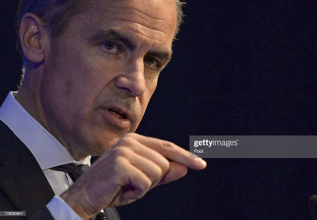 <a gi-track='captionPersonalityLinkClicked' href=/galleries/search?phrase=Mark+Carney&family=editorial&specificpeople=3028157 ng-click='$event.stopPropagation()'>Mark Carney</a>, governor of the Bank of England, delivers his address to business leaders on August 28, 2013 in Nottingham, England. Carney's first policy speech as Bank of England governor is his chance to address investor doubts that he can keep interest rates on hold at a record low until at least late 2016. During his speech, Carney said officials are ready to add stimulus if investor expectations for higher interest rates rise too far and undermine the recovery.