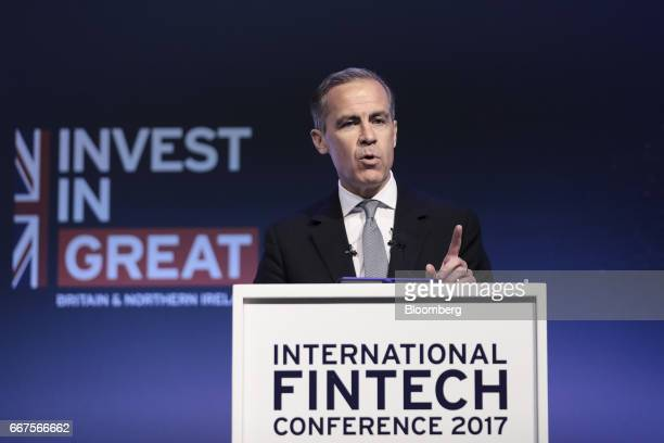 Mark Carney governor of the Bank of England gestures as he speaks during the International Fintech Conference in London UK on Wednesday April 12 2017...