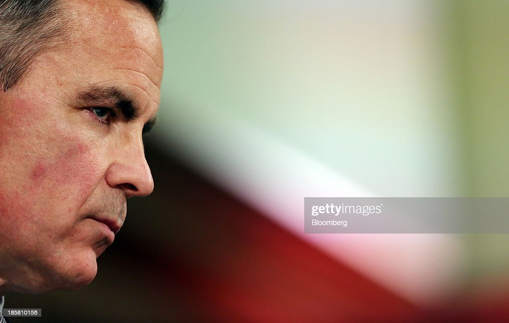 Mark Carney, governor of the Bank of England, pauses as he listens during an event to mark the 125th anniversary of the Financial Times in London, U.K., on Thursday, Oct. 24, 2013. U.K. economic growth accelerated to its fastest pace in more than three years in the third quarter as the recovery continued across all main industries. Photographer: Chris Ratcliffe/Bloomberg via Getty Images