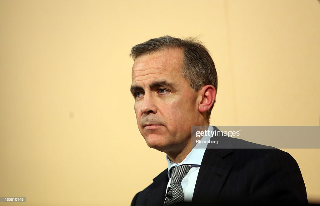 Mark Carney, governor of the Bank of England, pauses as he listens to questions during an event to mark the 125th anniversary of the Financial Times in London, U.K., on Thursday, Oct. 24, 2013. U.K. economic growth accelerated to its fastest pace in more than three years in the third quarter as the recovery continued across all main industries. Photographer: Chris Ratcliffe/Bloomberg via Getty Images