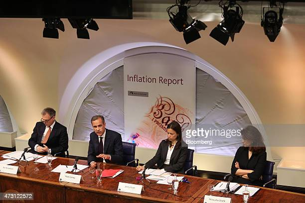 Mark Carney governor of the Bank of England second left speaks as Ben Broadbent deputy governor for monetary policy at the Bank of England left Jenny...