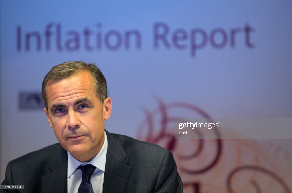 <a gi-track='captionPersonalityLinkClicked' href=/galleries/search?phrase=Mark+Carney&family=editorial&specificpeople=3028157 ng-click='$event.stopPropagation()'>Mark Carney</a>, governor of the Bank of England, speaks during the bank's quarterly inflation report news conference at the Bank of England on August 7, 2013 in London, England. The Bank of England for the first time linked the outlook for its benchmark interest rate to unemployment and inflation and will keep its current policy 'at least' until the jobless rate falls to 7 percent.