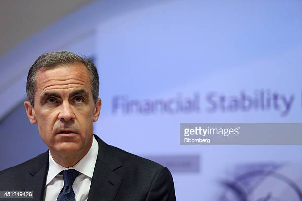 Mark Carney governor of the Bank of England speaks during the bank's financial stability report news conference at the Bank of England in London UK...