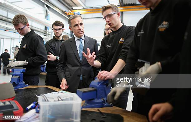 Mark Carney governor of the Bank of England talks to apprentices during his visit to the University of Sheffield Advanced Manufacturing Research...