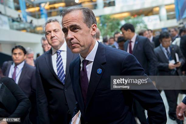Mark Carney governor of the Bank of England walks out after a Groupof20 finance ministers and central bank governors group photograph on the...