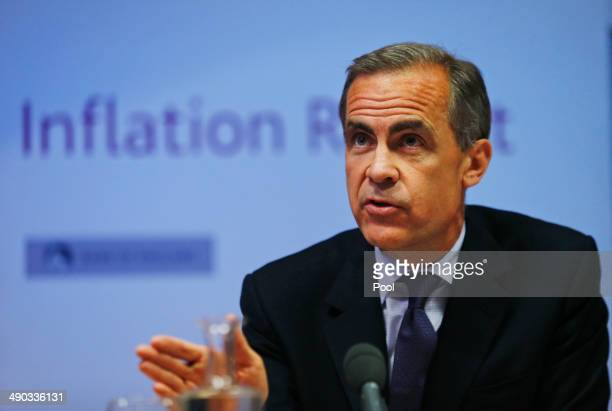 Mark Carney the Governor of the Bank of England speaks during a news conference to present the UK Quarterly Inflation Report on May 14 2014 in London...
