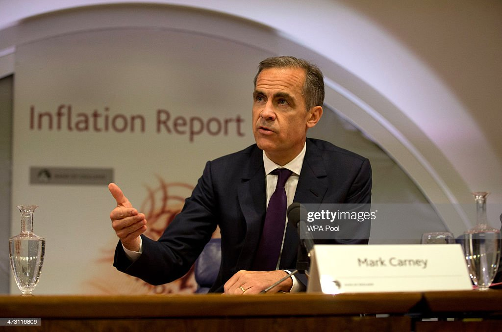 <a gi-track='captionPersonalityLinkClicked' href=/galleries/search?phrase=Mark+Carney&family=editorial&specificpeople=3028157 ng-click='$event.stopPropagation()'>Mark Carney</a>, the Governor of the Bank of England, speaks during a press conference as he presents the quarterly inflation report at the Bank of England in the City of London, on May 13, 2015 in London, England. The Bank of England says it is revising its forecast for the British economy's growth this year from 2.9 percent to 2.5 percent. Governor <a gi-track='captionPersonalityLinkClicked' href=/galleries/search?phrase=Mark+Carney&family=editorial&specificpeople=3028157 ng-click='$event.stopPropagation()'>Mark Carney</a> sounded a pessimistic note saying productivity rates remain weak and are expected to stay below past average growth rates.