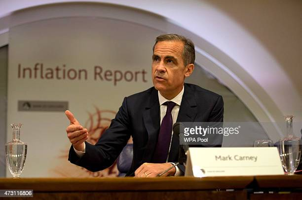 Mark Carney the Governor of the Bank of England speaks during a press conference as he presents the quarterly inflation report at the Bank of England...