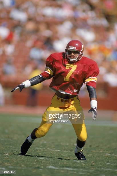 Mark Carrier of the University of Southern California Trojans runs down the field the during the NCAA game against the University of Washington...