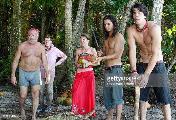 Mark Caruso John Cochran Dawn Meehan Ozzy Lusth and Keith Tollefson during the series premier of SURVIVOR SOUTH PACIFIC Wednesday September 14 on the...