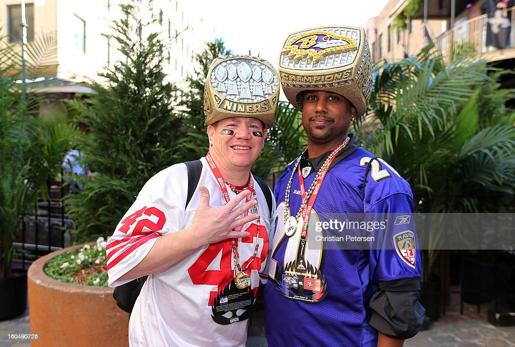 Mark Castanon and Uland Price pose for a photo prior to Super Bowl XLVII on February 1, 2013 in New Orleans, Louisiana.