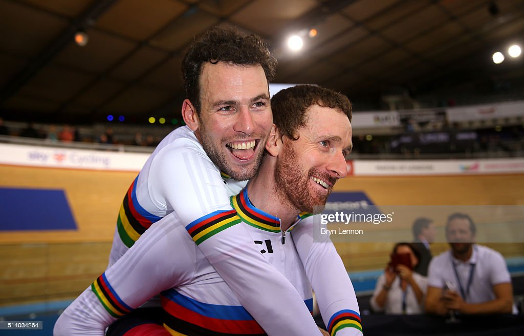 Mark Cavendish and Sir Bradley Wiggins of Great Britain celebrate after winning The Men's Madison Final during Day Five of the UCI Track Cycling...