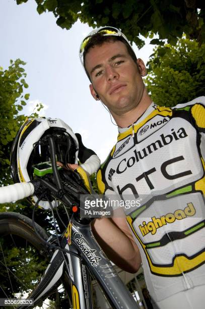 Mark Cavendish at the start village with fighter pilot wings on his bike for every stage win before the eleventh stage of the Tour de France between...