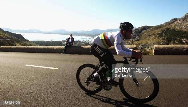 Mark Cavendish climbs during a preseason Team SKY training camp in Puerto Alcudia on January 23 2012 in Mallorca Spain