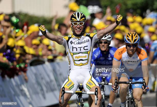 Mark Cavendish crosses the line to win the second stage of the Tour de France between Monaco and Brignoles