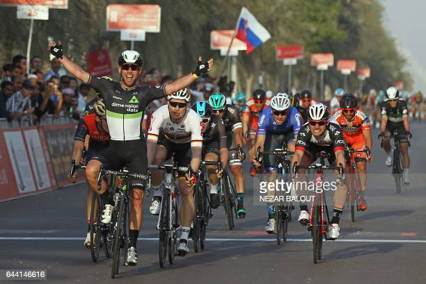 Mark Cavendish from Dimension Data team celebrates as he crosses the finish line in Madinat Zayed to win the opening stage of the 2017 Abu Dhabi Tour...