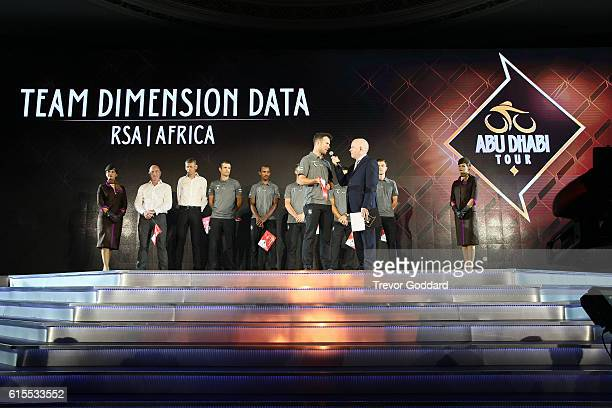 Mark Cavendish giving speech with Team Dimension Data attend the Team Presentation for the 2016 Abu Dhabi Tour at the 2nd UCI Gala Awards 2016 on...