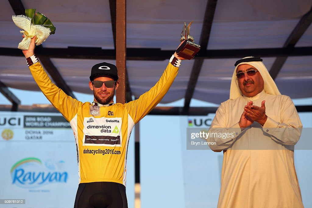 Mark Cavendish of Great Britain and Dimension Data celebrates winning the 2016 Tour of Qatar, after stage 5 from Sealine Beach Resort to Doha Corniche, on February 12, 2016 in Doha, Qatar