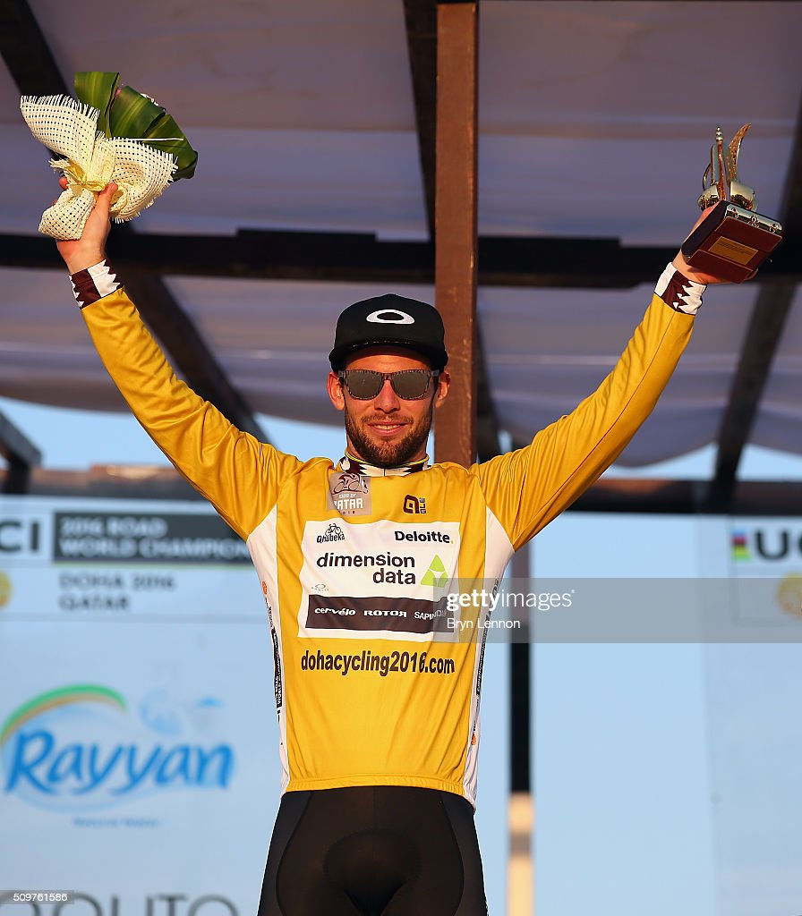 <a gi-track='captionPersonalityLinkClicked' href=/galleries/search?phrase=Mark+Cavendish&family=editorial&specificpeople=684957 ng-click='$event.stopPropagation()'>Mark Cavendish</a> of Great Britain and Dimension Data celebrates winning the 2016 Tour of Qatar, after stage 5 from Sealine Beach Resort to Doha Corniche, on February 12, 2016 in Doha, Qatar