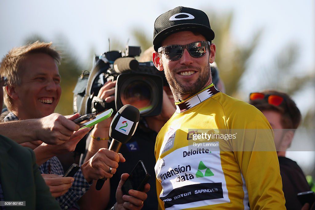 <a gi-track='captionPersonalityLinkClicked' href=/galleries/search?phrase=Mark+Cavendish&family=editorial&specificpeople=684957 ng-click='$event.stopPropagation()'>Mark Cavendish</a> of Great Britain and Dimension Data chats to reporters after stage two of the 2016 Tour of Qatar from Qatar University to Qatar Univeristy on February 9, 2016 in Doha, Qatar. The stage also serves as a test event for the World Road Race Championships which will be held in Doha in October.