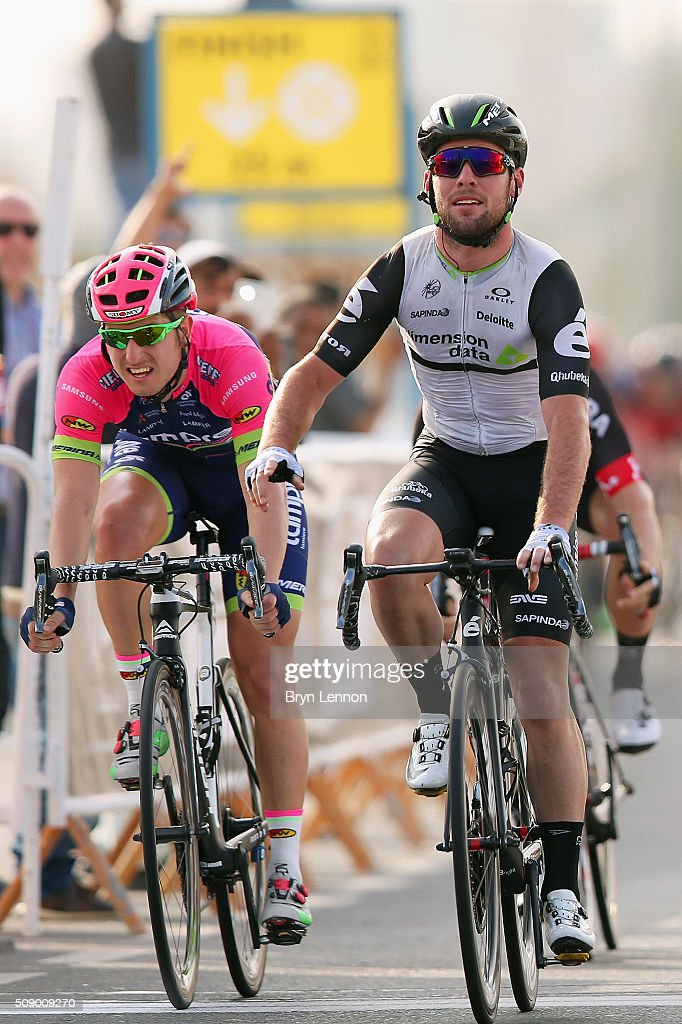 <a gi-track='captionPersonalityLinkClicked' href=/galleries/search?phrase=Mark+Cavendish&family=editorial&specificpeople=684957 ng-click='$event.stopPropagation()'>Mark Cavendish</a> of Great Britain and Dimension Data crosses the line to win stage one of the 2016 Tour of Qatar, a 176.5km road stage from Durkhan to Al Khor Corniche on February 8, 2016 in Al Khor Corniche, Qatar.