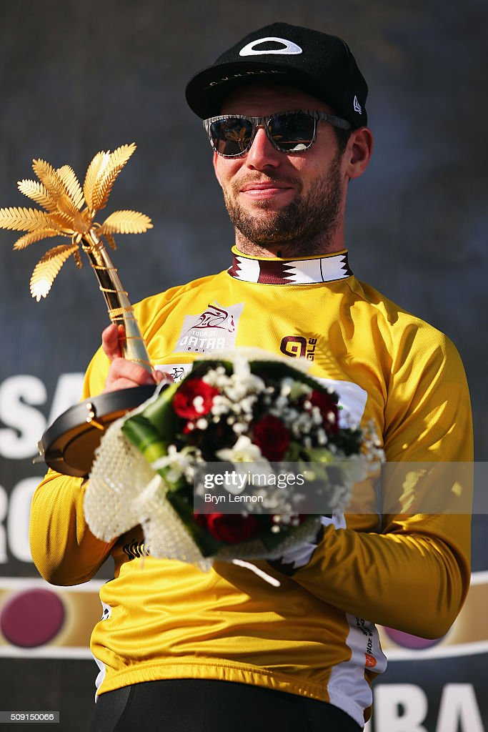 <a gi-track='captionPersonalityLinkClicked' href=/galleries/search?phrase=Mark+Cavendish&family=editorial&specificpeople=684957 ng-click='$event.stopPropagation()'>Mark Cavendish</a> of Great Britain and Dimension Data on retained his leaders gold jersey after stage two of the 2016 Tour of Qatar from Qatar University to Qatar Univeristy on February 9, 2016 in Doha, Qatar. The stage also serves as a test event for the World Road Race Championships which will be held in Doha in October.