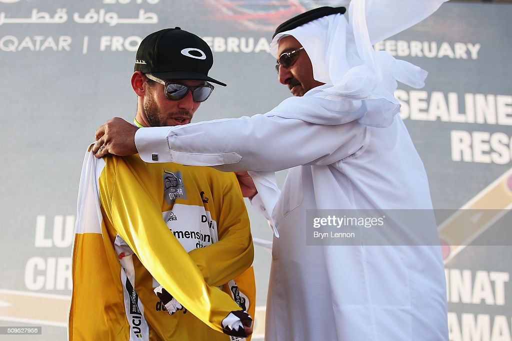 <a gi-track='captionPersonalityLinkClicked' href=/galleries/search?phrase=Mark+Cavendish&family=editorial&specificpeople=684957 ng-click='$event.stopPropagation()'>Mark Cavendish</a> of Great Britain and Dimension Data regained the race lead on stage four of the 2016 Tour of Qatar, a 189km road stage from Al Zuberah Fort to Madinat Al Shamal, on February 11, 2016 in Madinat Al Shamal, Qatar.