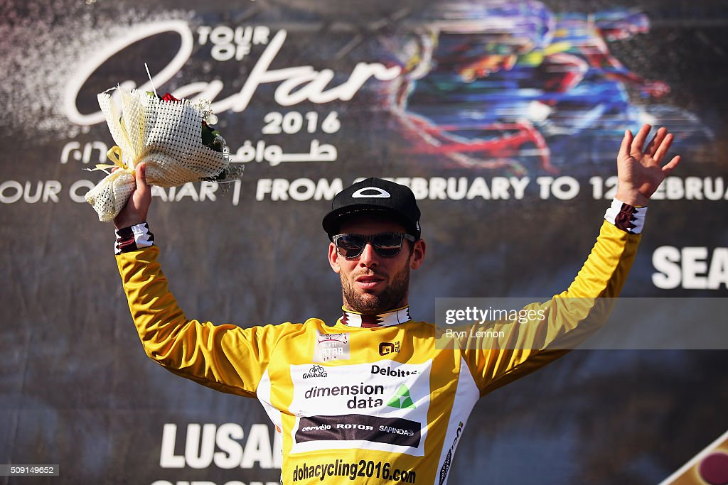 <a gi-track='captionPersonalityLinkClicked' href=/galleries/search?phrase=Mark+Cavendish&family=editorial&specificpeople=684957 ng-click='$event.stopPropagation()'>Mark Cavendish</a> of Great Britain and Dimension Data retained his leaders gold jersey after stage two of the 2016 Tour of Qatar from Qatar University to Qatar Univeristy on February 9, 2016 in Doha, Qatar. The stage also serves as a test event for the World Road Race Championships which will be held in Doha in October.