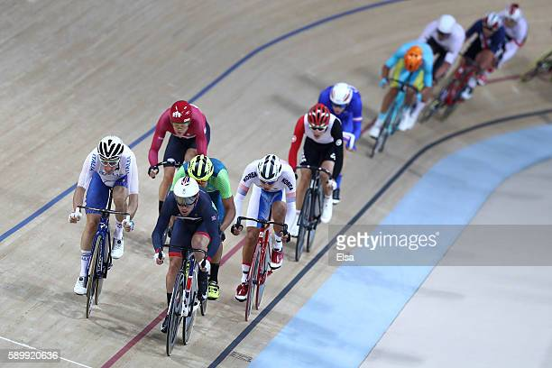 Mark Cavendish of Great Britain and Elia Viviani of Italy competes in the Cycling Track Men's Omnium Points Race 66 on Day 10 of the Rio 2016 Olympic...