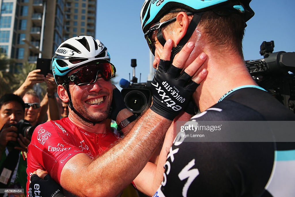 <a gi-track='captionPersonalityLinkClicked' href=/galleries/search?phrase=Mark+Cavendish&family=editorial&specificpeople=684957 ng-click='$event.stopPropagation()'>Mark Cavendish</a> (l) of Great Britain and Etixx - Quick-Step celebrates with team mate <a gi-track='captionPersonalityLinkClicked' href=/galleries/search?phrase=Tony+Martin+-+Cyclist&family=editorial&specificpeople=5399396 ng-click='$event.stopPropagation()'>Tony Martin</a> of Germany after winning the Dubai Tour and also stage four of the Dubai Tour from the Dubai International Marine Club to the Burj Kalifa on February 7, 2015 in Dubai, United Arab Emirates.