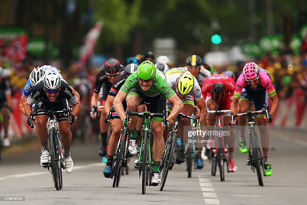 Mark Cavendish of Great Britain and EtixxQuick Step and Andre Greipel of Germany and LottoSoudal lead the sprint for the finish line during stage...