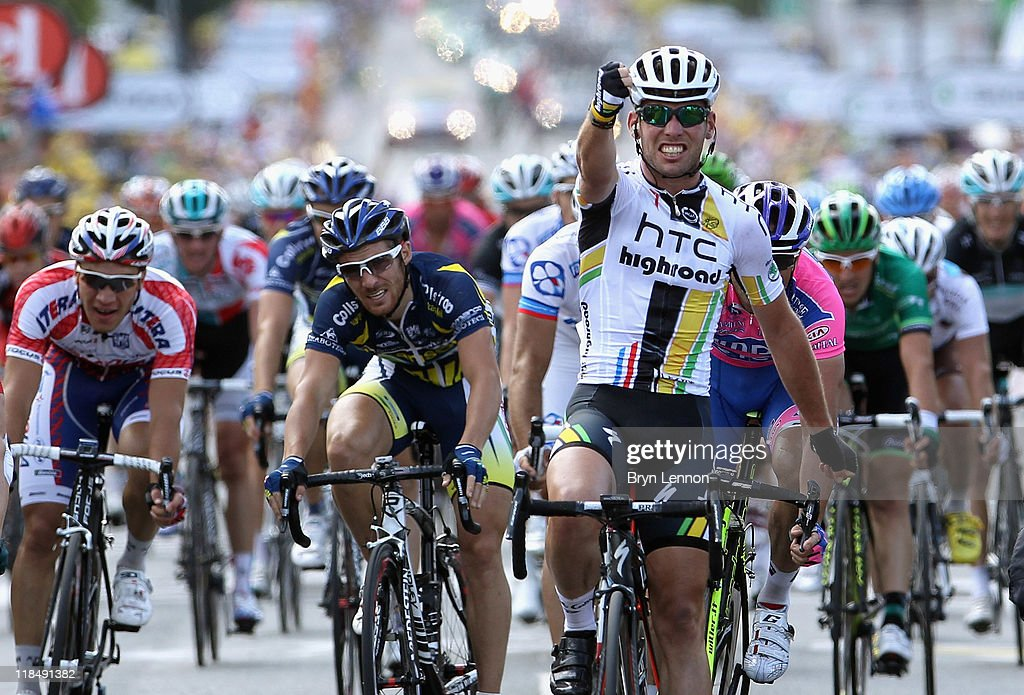 Mark Cavendish of Great Britain and HTC Highroad celebrates as he crosses the finish line to win stage seven of the 2011 Tour de France from Le Mans to Chateauroux on July 8, 2011 in Chateauroux, France.
