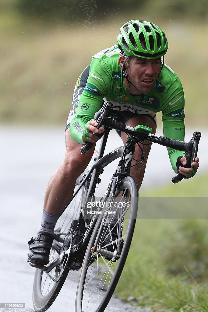 <a gi-track='captionPersonalityLinkClicked' href=/galleries/search?phrase=Mark+Cavendish&family=editorial&specificpeople=684957 ng-click='$event.stopPropagation()'>Mark Cavendish</a> of Great Britain and HTC Highroad team descends from the Col du Manse during Stage 16 of the 2011 Tour de France from Saint Paul Trois Chateaux to Gap on July 19, 2011 in Gap, France.