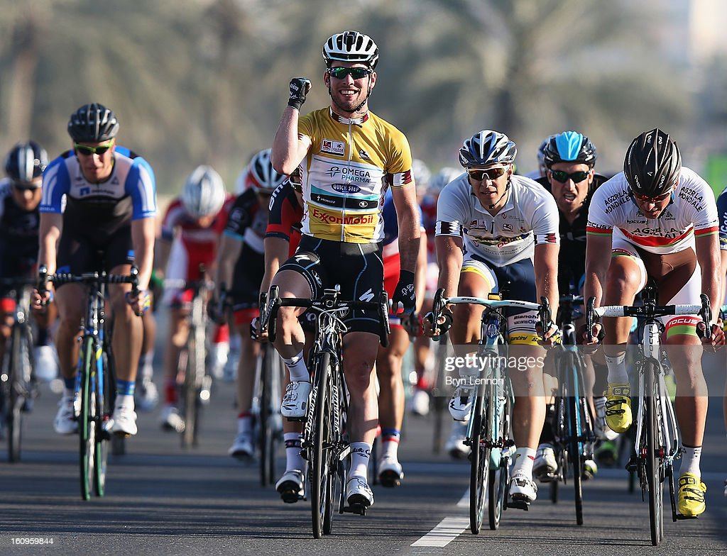 <a gi-track='captionPersonalityLinkClicked' href=/galleries/search?phrase=Mark+Cavendish&family=editorial&specificpeople=684957 ng-click='$event.stopPropagation()'>Mark Cavendish</a> of Great Britain and Omega Pharma - Quick Step celebrates as he crosses the line to win stage six, and the overall classification, of the 2013 Tour of Qatar from Sealine Beach Resort to Doha Corniche on February 8, 2013 in Doha, Qatar.