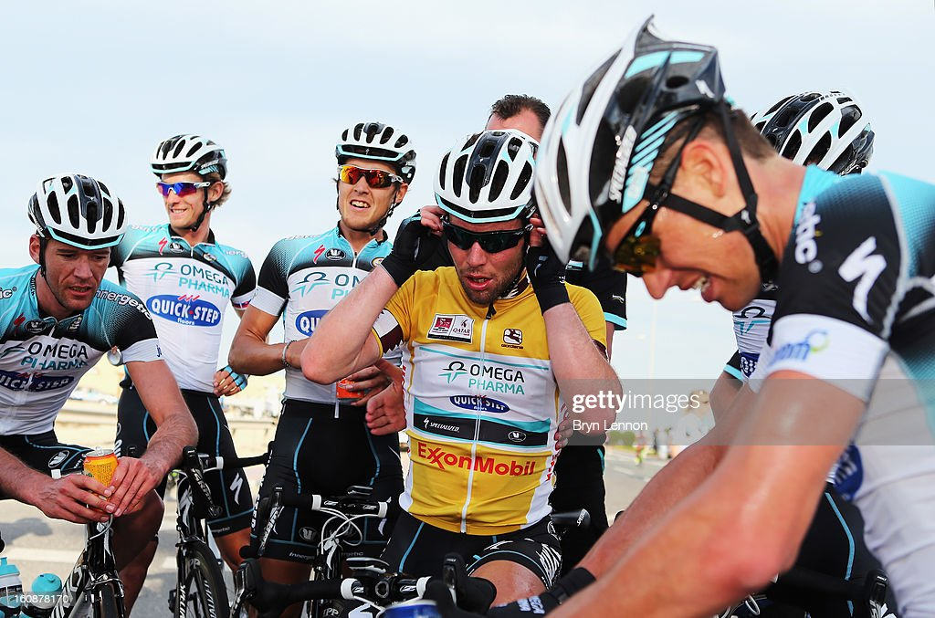 <a gi-track='captionPersonalityLinkClicked' href=/galleries/search?phrase=Mark+Cavendish&family=editorial&specificpeople=684957 ng-click='$event.stopPropagation()'>Mark Cavendish</a> of Great Britain and Omega Pharma - Quick Step recovers with his team after winning stage five of the 2013 Tour of Qatar from Al Zubara Fort to Madinat Al Shamal on February 7, 2013 in Madinat Al Shamal, Qatar.