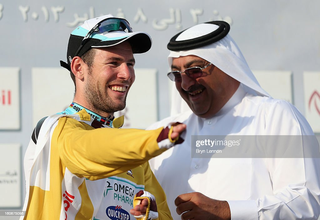 <a gi-track='captionPersonalityLinkClicked' href=/galleries/search?phrase=Mark+Cavendish&family=editorial&specificpeople=684957 ng-click='$event.stopPropagation()'>Mark Cavendish</a> of Great Britain and Omega Pharma - Quick Step retained his gold leader's jersey after stage five of the 2013 Tour of Qatar from Al Zubara Fort to Madinat Al Shamal on February 7, 2013 in Madinat Al Shamal, Qatar.