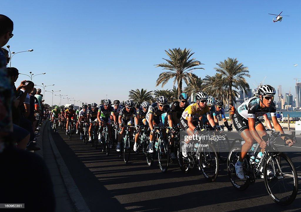 <a gi-track='captionPersonalityLinkClicked' href=/galleries/search?phrase=Mark+Cavendish&family=editorial&specificpeople=684957 ng-click='$event.stopPropagation()'>Mark Cavendish</a> of Great Britain and Omega Pharma - Quick Step rides in the peloton prior to winning stage six and the overall classification of the 2013 Tour of Qatar from Sealine Beach Resort to Doha Corniche on February 8, 2013 in Doha, Qatar.